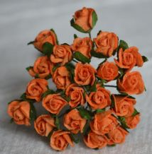 8mm ORANGE SEMI-OPEN ROSE BUDS Mulberry Paper Flowers